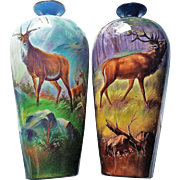 """Museum Quality Jean Pouyat Limoges France & J.H. Stouffer Co. of Chicago 1906 Hand Painted """"Elk"""" 13-3/4"""" Scenic Vase by the Artist, """"K. Ryba"""""""