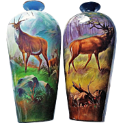 """Museum Quality Jean Pouyat Limoges France Hand Painted """"Stag & 2 Does"""" 13-3/4"""" Scenic Vase by the Pickard Artist, """"Arthur Weiss"""""""