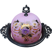 "Scarce Mt. Washington Glass 1900 Hand Painted Enamel Pink Lavender ""Daisies"" Floral Butter Holder With Silver Plated Base by the Benedict Mfg. Co."