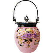 "Fabulous Mt. Washington Glass 1900 Hand Painted Enamel Pink Lavender ""Daisies"" Floral Biscuit Jar With Silver Plated Collar"
