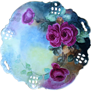 "Beautiful Rosenthal Bavaria 1907 Hand Painted ""Deep Red Roses"" 10-1/4"" Reticulated Floral Plate by the Artist, ""A.B."""