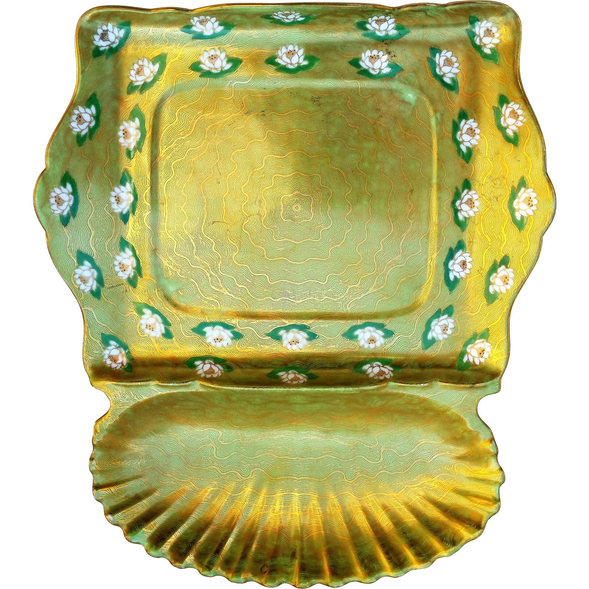 """Beautiful T & V Limoges France 1900's Hand Painted """"Water Lilies"""" 11"""" Sardine Tray"""