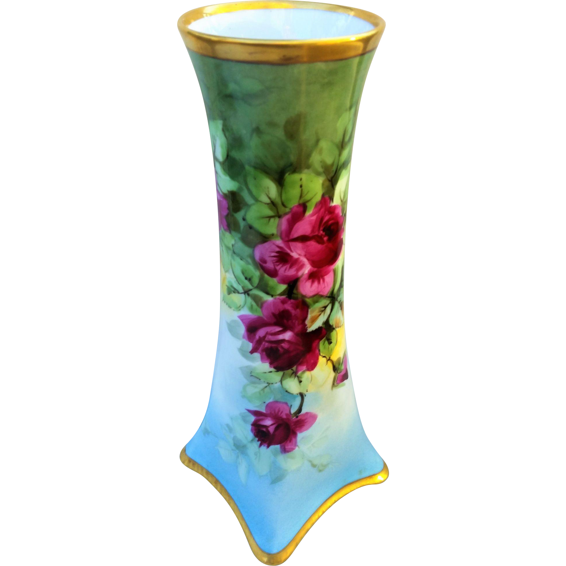 "Spectacular H & Co. Selb Bavaria 1900's Hand Painted ""Deep Red Roses"" 12"" Hour Glass Floral Vase"