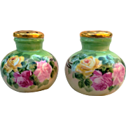 "Gorgeous Bavaria 1900's Hand Painted ""Red, Pink, & Yellow Roses"" Floral Shakers"