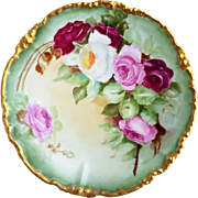 "Beautiful J.P.L France Limoges 1900's Hand Painted ""Red, Pink, & White Roses"" 9-3/4"" Floral Plate"