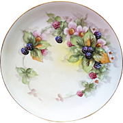 "Gorgeous 13"" Hutschenreuther Selb Bavaria 1916 Hand Painted ""Blackberries"" Fruit Charger by the Listed Artist, ""Rosa Kelly"""