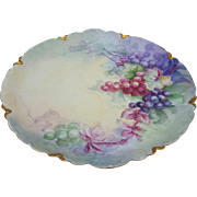 "Haviland France 12-3/4"" Vintage 1900's Hand Painted ""Purple, Red, & Plum Purple Grapes"" Scallop Fruit Charger"