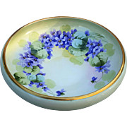 "Attractive T & V Limoges France & France Studio of Chicago 1915 Hand Painted Vibrant ""Violets"" 10-5/8"" Floral Fruit Bowl"