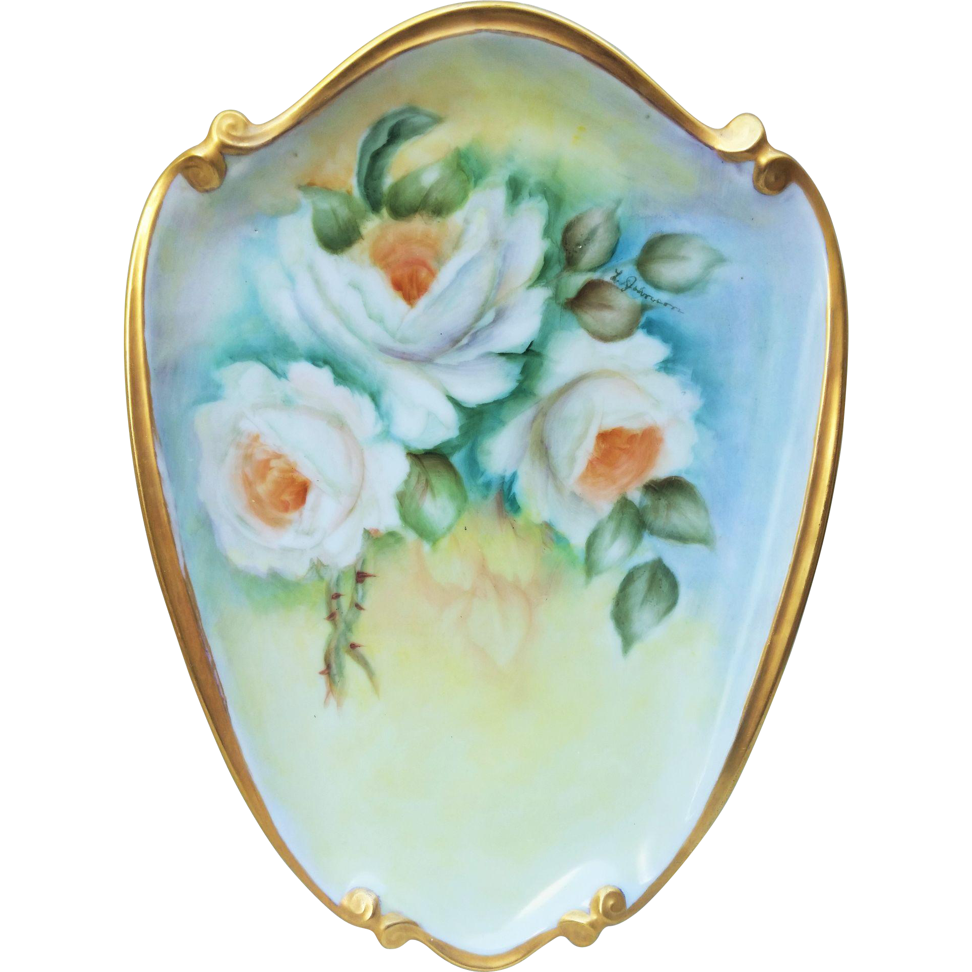 "Gorgeous Bavaria 1960's Hand Painted ""White Roses"" 10-1/2"" Floral Plaque by the Listed Artist, ""Lois Johnson"""