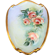 "Beautiful Bavaria 1960's Hand Painted ""Peach Roses"" 8-1/2"" Floral Plaque by the Listed Artist, ""Lois Johnson"""