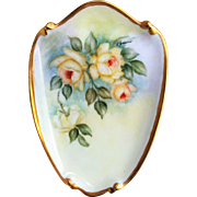 "Attractive Bavaria 1960's Hand Painted ""Yellow Roses"" 8-1/2"" Floral Plaque by the Listed Artist, ""Lois Johnson"""