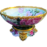 "Spectacular & Magnificent T & V Limoges France 1900's Hand Painted ""Red, Pink, & Yellow Roses"" Large Pedestal Floral Center Bowl"