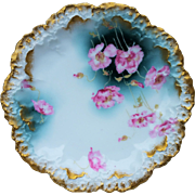"Beautiful Limoges France 1900's Hand Painted ""Deep Pink Pansy"" 8"" Floral Plate"