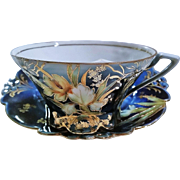 """Scarce & Beautiful RS Prussia 1900's """"Water Lily"""" Cobalt Blue Mustache Cup & Saucer with Gold Tracing"""