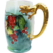 "Gorgeous Limoges France 1900's Hand Painted ""Red Currant"" Dragon Handle Tankard Stein"