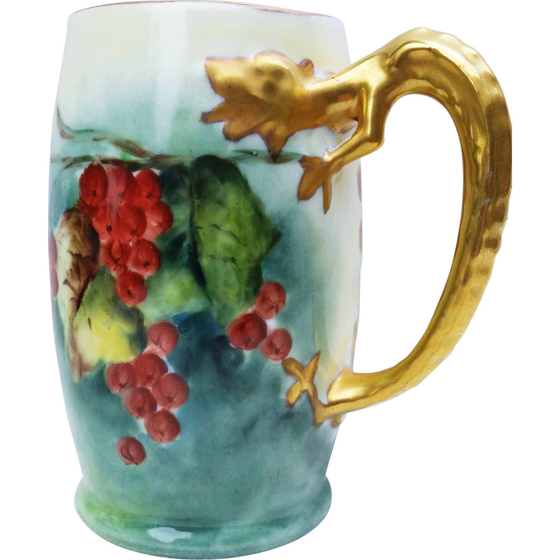 """Gorgeous Limoges France 1900's Hand Painted """"Red Currant"""" Dragon Handle Tankard Stein"""