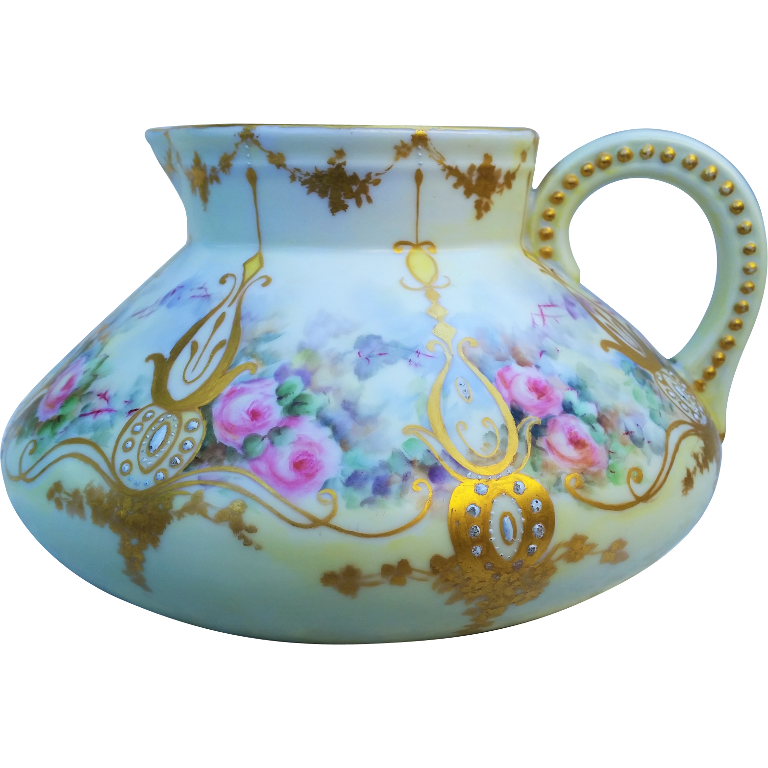 "Spectacular Hohenzollern Germany 1900's Hand Painted ""Pink & Peach Roses"" Floral Cider Pitcher by the Artist, ""Franks"""