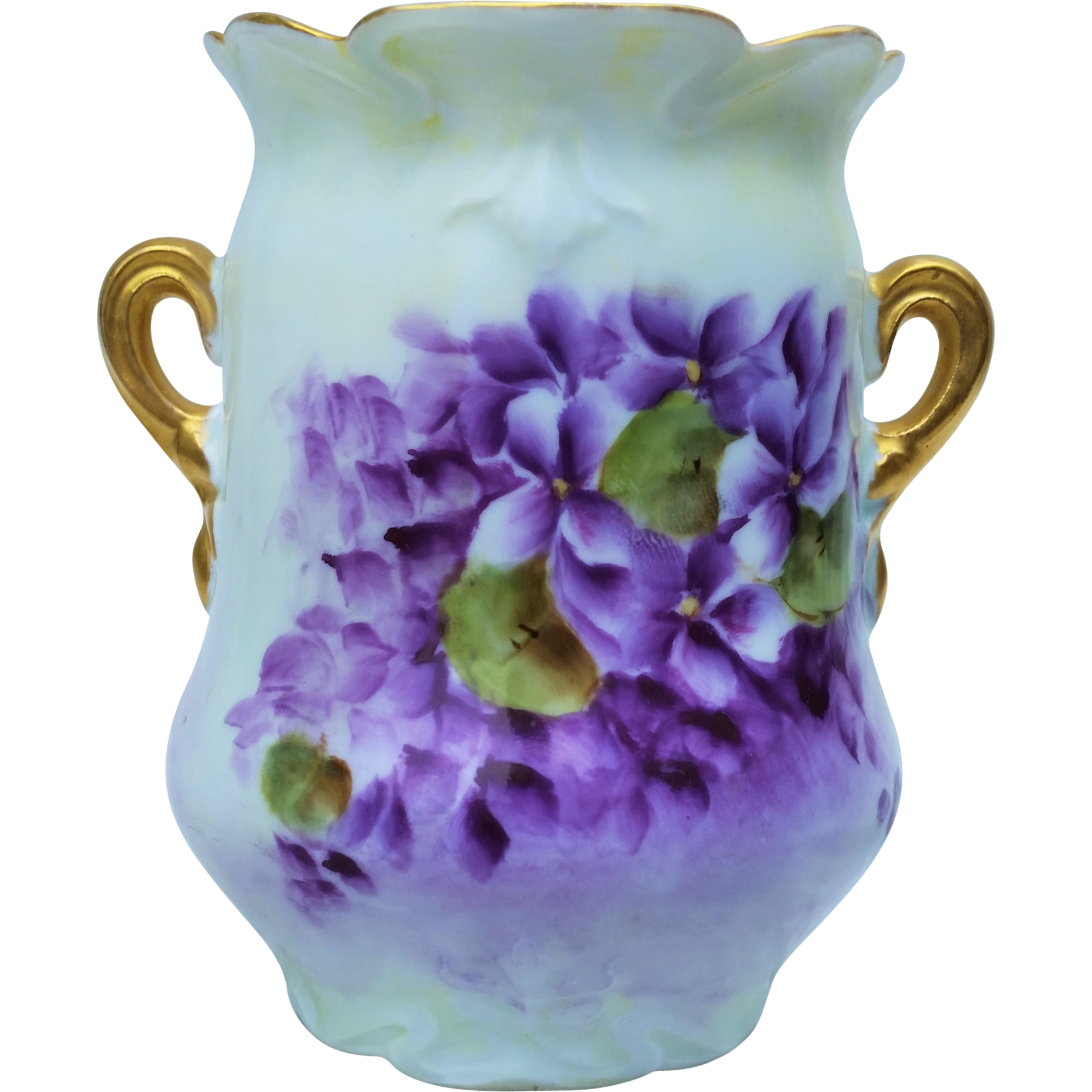 "Exquisite Omhe Germany 1900's Hand Painted ""Violets"" Floral Vase by Artist, ""L. Barnaby"""