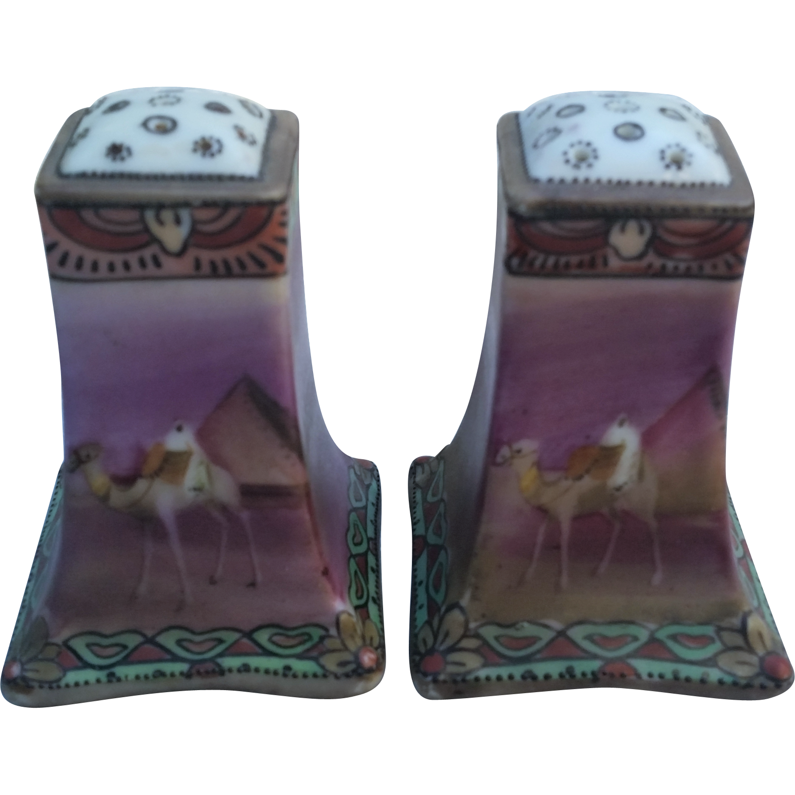 "Attractive Nippon 1900's Hand Painted ""Arab Riding A Camel"" Pair of Matched Scenic Shakers"