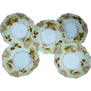"Beautiful Germany Omhe Silesia 1900's Set of 5 ""Old Ivory"" Floral Berry Bowls"