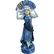 "Attractive Germany Vintage 1900's Hand Painted ""Fan Girl"" 8-7/8"" Figurine"