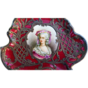 "Lavishly Decorated MR France Pre-1900 Hand Painted ""Portrait of Marie Antoinette"" Silver Overlay & Ruby Red Tray, Artist Signed"