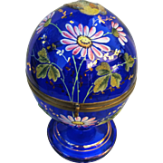 "Vintage Bohemian Moser Cobalt Blue Glass 1920's Hand Painted Enamel & Coralene  ""Bird & Flowers"" Cognac Liquor Caddy"