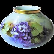 "Attractive Imperial Austria 1900's Hand Painted ""Deep Purple Violets"" Floral Vase"