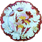 "Outstanding RS Prussia 1900 Deep Red & Lavender Floral With Fancy Gold Tracing 8"" Scallop Plate"