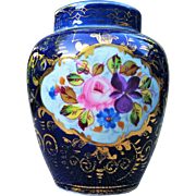 "Beautiful Vintage Germany Pre-1900's Hand Painted ""Roses & Daisies"" Floral Potpourri Jar"