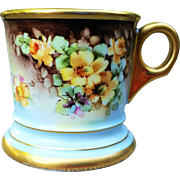 "Beautiful T & V Limoges France Vintage 1900's Hand Painted ""Deep Yellow Roses"" Floral Shaving Mug by the Artist, ""Tay"""