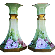 "Gorgeous C.S. Prussia 1900's Hand Painted ""Pink Roses"" 5-1/2"" 6-Sided Floral Candlestick Holders by the Artist, ""A. Meier"""