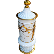 "Outstanding Haviland Limoges France Hand Decorated Commemorative 11-3/4"" Pedestal Apothecary Jar by Artist, ""Janine Janet"""