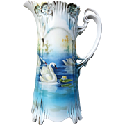 """Gorgeous RS Prussia 1900's """"Three Swans On the Lake"""" 8-1/4"""" Icicle Mold Scenic Chocolate Pot"""