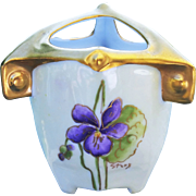 "Beautiful German 1900's Hand Painted Vibrant ""Violets"" 3 Sectional Toothpick Holder by the Listed Chicago Artist, ""Steve"""