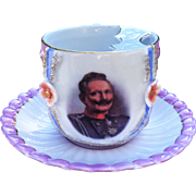Outstanding Germany Portrait Mustache Cup & Saucer of German Emperor Kaiser Wilhelm II