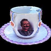 Outstanding Germany Portrait Mustache Cup & Saucer of German Emperor Kaiser Wilhelm II