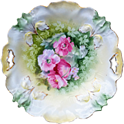 "Gorgesous RS Prussia 1900's ""Pink Poppies"" 9-5/8"" Iris Mold Floral Plate"