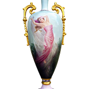 "Spectacular 18-1/2"" Belleek 1906 Hand Painted ""Greek Goddess Aphrodite Rising From The Sea"" Ornate Portrait Vase by the Artist, ""E.M. Frost"""