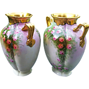 "Fabulous Matched Pair of Osborne Studio of Chicago 1914 Hand Painted ""Roses"" 8-3/4"" Floral Vases by the Listed Artist ""Asbjorn Osborne"""
