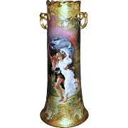 "Incredible Large Museum Quality Limoges France 1900 Hand Painted ""The Storm"" Scenic 15""+ Vase With Heavy Raised Scroll Gold by the Artist, ""De Rilhac"""