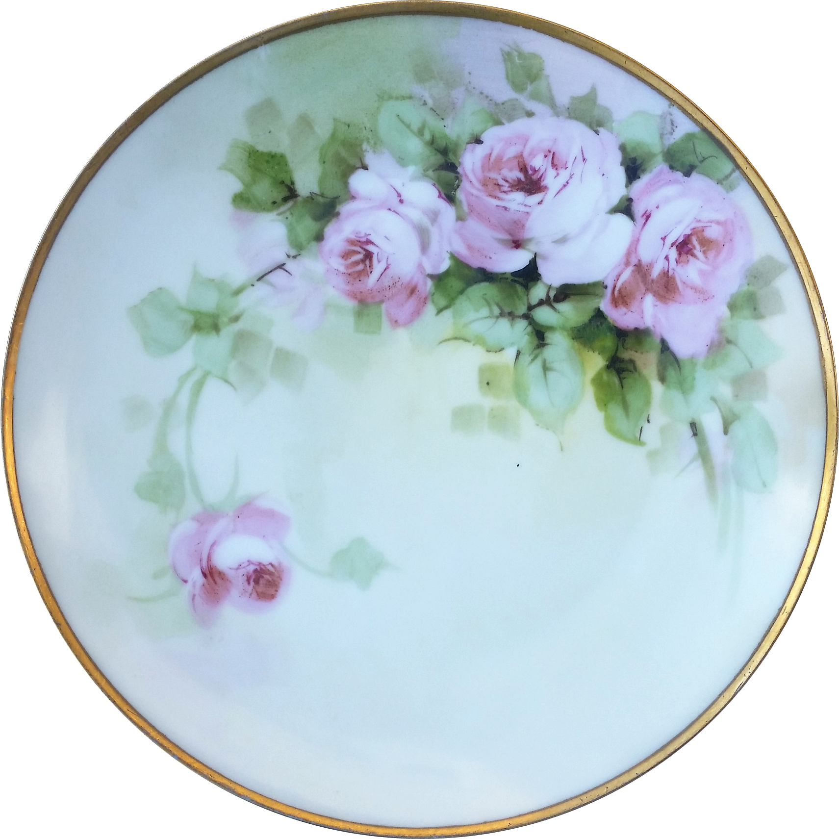 "Beautful Sevres Bavaria 1900's Hand Painted ""Pink Roses"" 9"" Floral Plate"