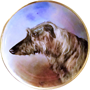 "Spectacular Vintage German 1900's Hand Painted ""Scottish Deerhound"" 16"" Framed Plaque by the Renown Artist, ""Anton Weinberger"""