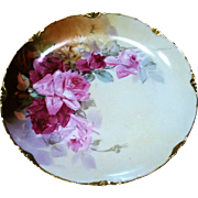 "Gorgeous Rosenthal Bavaria & Julius Brauer Studio of Chicago 1911 Hand Painted Lifelike ""Red & Pink Roses"" 8-7/8"" Floral Plate by ""J. Brauer"""