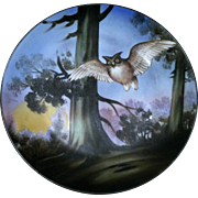 "Beautiful Nippon 1900 Hand Painted ""Flying Owl"" 8-7/8"" Scenic Art Deco Plate"