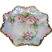 "Beautiful Bavaria Hand Painted ""Peach Roses"" 10-1/4"" Fancy Scallop Heavy Gold Floral Plate by the Artist, ""M. Turl"""
