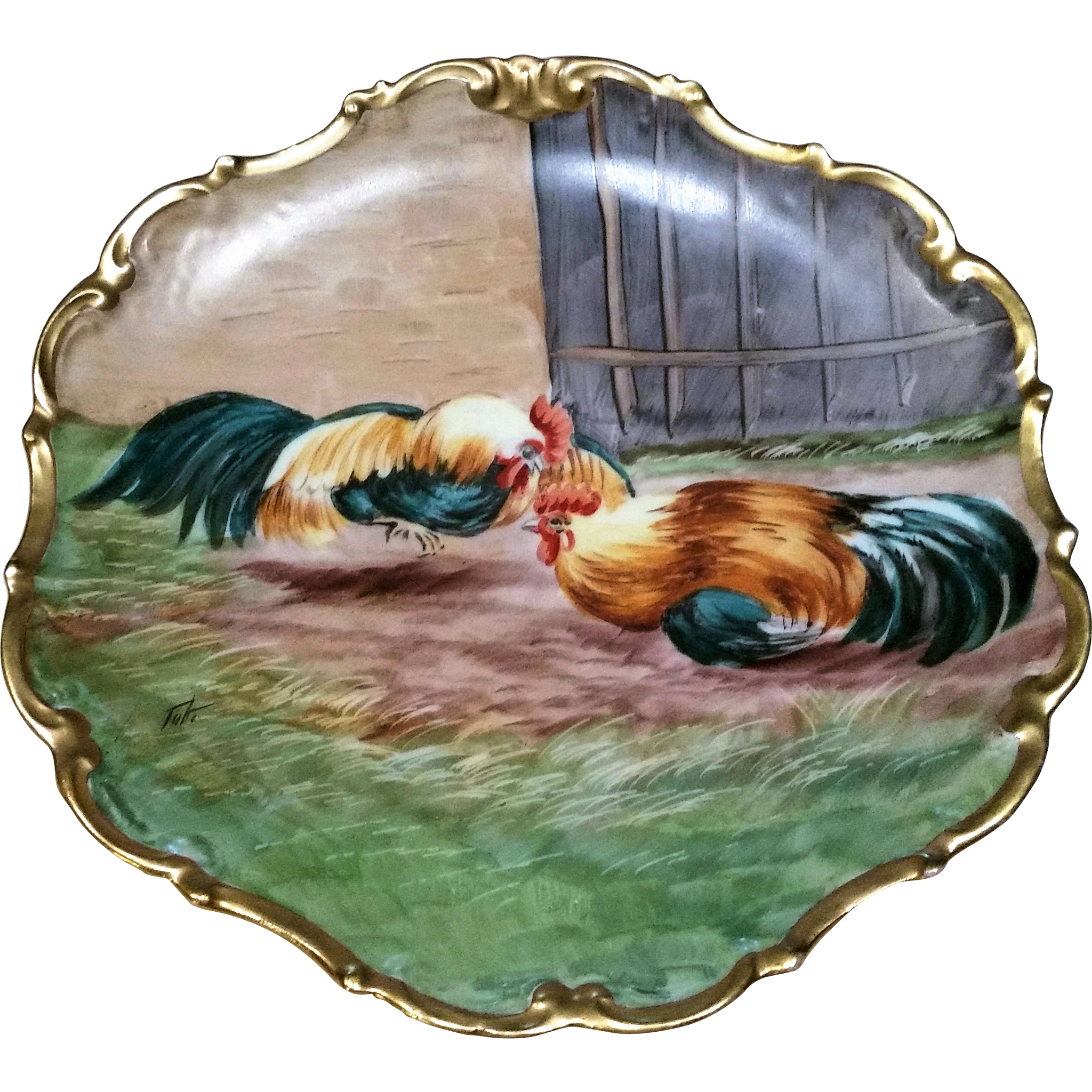 "LDBC Limoges France 1900's Hand Painted ""Barnyard Roosters"" 10"" Scenic Rococo Charger by the Artist, ""Tuti"""