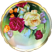 "Gorgeous Limoges Coronet France 1900's Hand Painted ""Deep Red & Yellow Roses"" 8-3/4"" Floral Plate by the Artist, ""Thuilpel"""