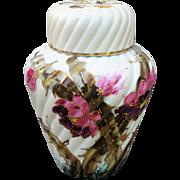 "Beautiful RS Prussia 1890's Hand Painted ""Pink & Purple Flowers"" 5-1/2"" Potpourri Jar"