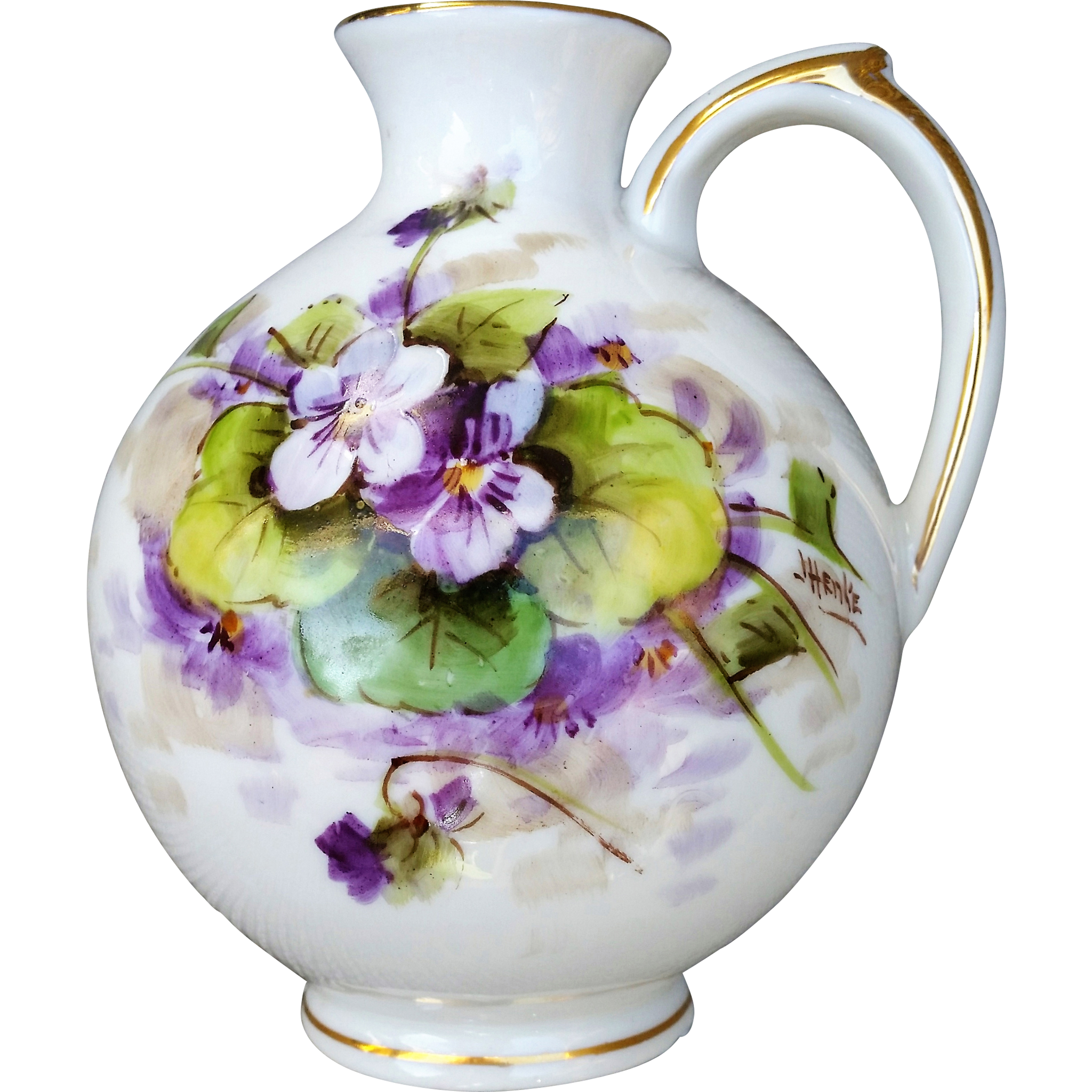 "Beautiful Welsley China 1930's Hand Painted ""Violets"" Floral Ewer by the Respected Artist, ""Josef Henke"""